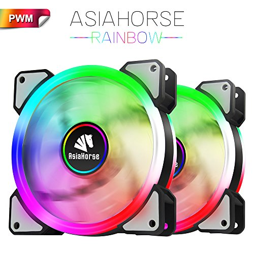 Asiahorse UFOI Wireless RGB LED 120mm Case Fan,Quiet Edition High Airflow Adjustable Color LED Case Fan for PC Cases, CPU Coolers,Radiators system,3PACK