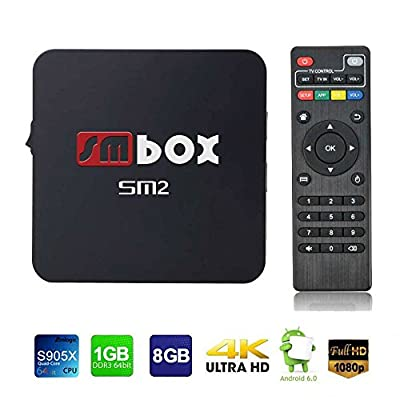 SMBOX SM2 Android 6.0 4K 1080P TV Box Amlogic S905X Quad-Core 1G+8G 2.4GHz WIFI HDMI by SMBOX
