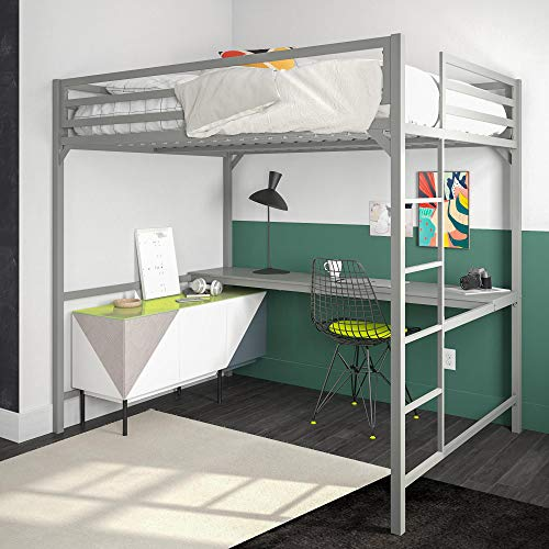 - DHP 4308429 Miles Full Metal Loft Bed with Desk, Silver