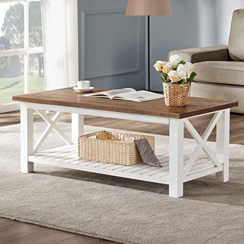 FurniChoi Farmhouse Coffee Table, Wood Rustic Vintage Cocktail Table for Living Room with Shelf, 47 White and Brown (Slatted Floor)