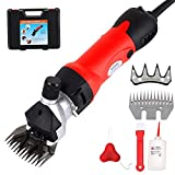 500W Electric Sheep Shears Machine Wool Clippers Heavy Duty Grooming Shearing Scissors Professional 6 Adjustable Speed Thick Coats Hair Cutters Tools 2 Blades, for Alpacas, Llamas, Fur Livestock