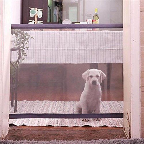 Pet Dog Fences, Elevin(TM) Magic Gate Portable Folding Safety Guard For Pets Dog Cat Isolated Gauze (white) ()