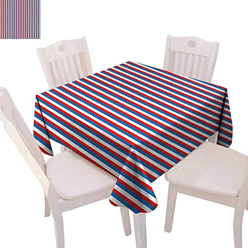 cobeDecor Harbour Stripe Dinner Picnic Table Cloth Vertical Patriotic Colorful Contrast Toned American Colors Waterproof Table Cover for Kitchen 54