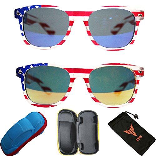 2 Pairs Kids Boys Girls USA America July 4th Patriot Flag Mirror Sunglasses + Free - Glasses Usa Discount