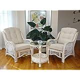 Malibu Rattan Wicker Living Room Set 3 Pieces White Wash Coffee Table 2 Lounge Chairs W Cream Cushions
