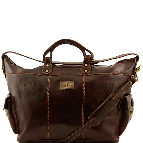 Tuscany Leather Porto Travel leather weekender bag Dark Brown by Tuscany Leather