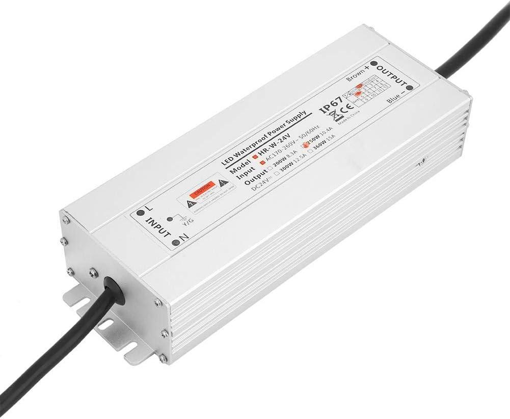 Transformador de LED,12V/24V 250W 20.8A/10.4A IP67 Shell de aluminio impermeable Fuente de alimentación de tira de luz LED para LED de interior,lámpara,tira de luz(24V 10.4A HRW-24V250W)