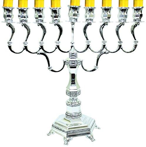 Majestic Giftware MN-HA19402B Hanukkah Menorah, 14-Inch, Silver Plated