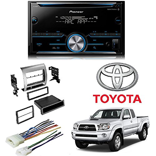 Installation Silver Amplifier Kit (Pioneer FH-S500BT Double DIN Bluetooth in-Dash CD/AM/FM Car Stereo Receiver w/Pandora Toyota Tacoma Double Din Car Stereo Radio Installation Dash Mount Kit Harness)
