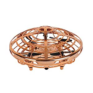 Children's Mini Drone - Hands-Free Hover Drone Portable Pocket Quad Axis 360° Rotating and Shining LED Lights UFO Toys Smart Sensor Airplane Boys Girls and Children's Gifts (Color : Gold)