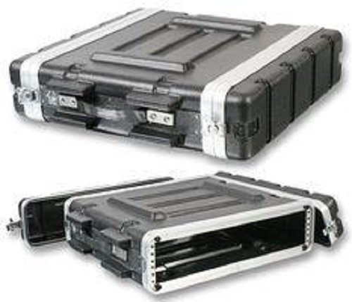 Pro Audio DJ Stackable ABS Rack Mount Flight Case Stackable Electronic Equipment Case- Three Rack Spaces 3RU