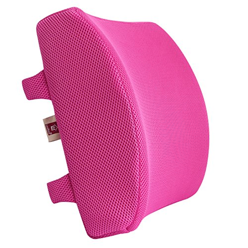 (LoveHome Memory Foam Lumbar Support Back Cushion With 3D Mesh Cover Balanced Firmness for Lower Back Pain Relief - Ideal Back Pillow for Office Chair and Car Seat - Pink)
