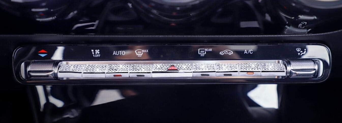 NIUHURU Car Interior Trim Bling Accessories Rhinestone Decals Car Air Conditioner Button Decorative Sticker Cover fit for Mercedes Benz A B Class CLA GLB 2019 2020