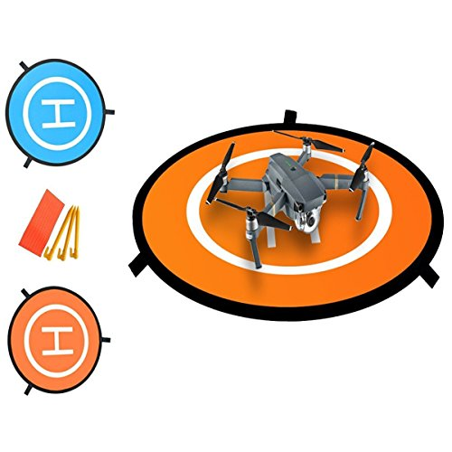 Drone Landing pad ,Portable Landing mat for Phantom 2/3/4/4 Pro, Inspire 2/1, 3DR Solo, RC Drones Helicopter DJI Mavic Pro, Parrot, Antel Robotic & More (Waterproof & Universal Helipad) ()