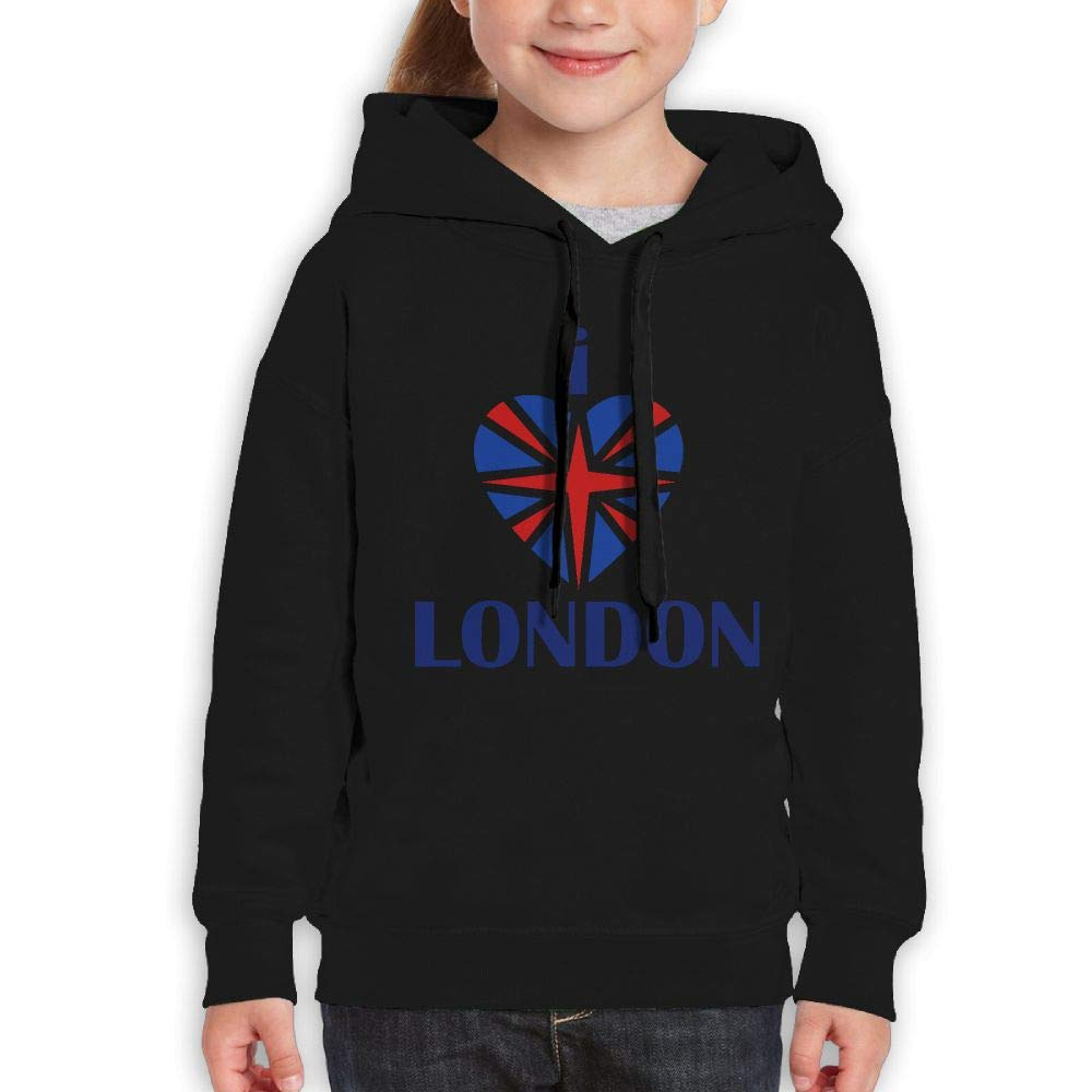 Boys and Girls Youth Hoodie I Love London Funny Print Pull-Over Hoodie Pullover Hood