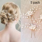 WBCBEC 5 Pack Wedding Bridal Pearl Flower Crystal