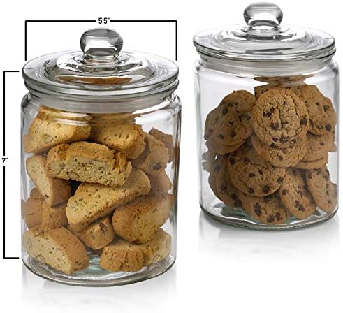 2 Pc 1/2 Gallon 64oz Clear Glass Storage Jar with Lids - Airtight Food Jars - Glass Kitchen Containers for Pantry, Countertop