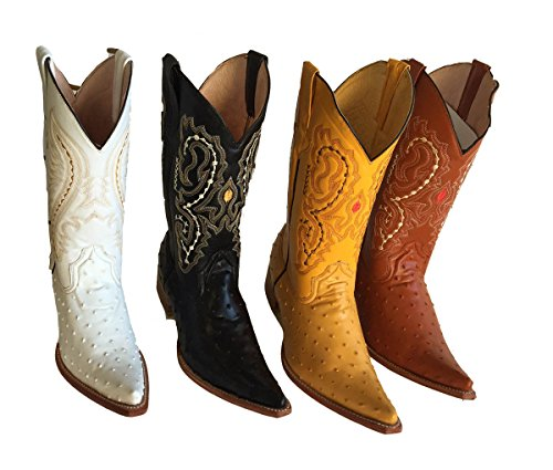 Leather Genuine Boots Luxury embossed Ostrich Handmade Cowboy boot's Cowboy Yellow aRUqwBn