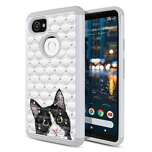 FINCIBO Case Compatible with Google Pixel 2 XL (6 inch) 2017, Dual Layer Hybrid Protector Case Cover TPU Rhinestone Bling for Pixel 2 XL 2017 (NOT FIT Pixel 2 5 inch) - Black White Tuxedo Cat ()