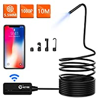 Wireless Endoscope, KZYEE 5.5mm Diameter 1080P 2.0 MP HD Semi-Rigid WiFi Borescope Inspection Camera IP67 Waterproof Snake Camera for Android & iOS iPhone Smartphone Tablet-33FT