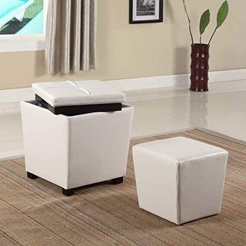 Vinyl Storage Ottoman - Roundhill Furniture 2-in-1 Storage Ottoman with Stool, Snow White