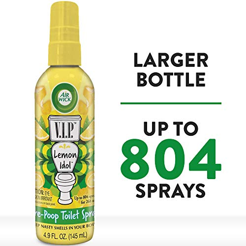 Air Wick V.I.P. Pre-Poop Toilet Spray, Up to 268 uses, Contains Essential Oils, Lemon Idol Scent, 4.9 oz., Holiday Gifts, White Elephant gifts, Stocking Stuffers