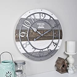 FirsTime & Co. 99687 Shabby Wood Wall Clock, 16, Gray