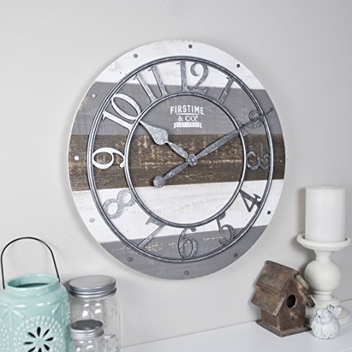 "FirsTime & Co. 99687 FirsTime Shabby Wood Wall Clock, 16"", Gray"