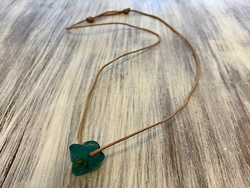 Aqua Sea Glass, Bonfire Necklace, Beach Wedding, Eco Friendly Necklace, Nautical Birthday, Whimsical Jewelry, Lake Erie, Ohio Buckeyes