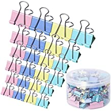 120 Pcs Binder Clips Paper Clamps Assorted 4 Sizes, Paper Binder Clips Metal Fold Back Clips with Box for Office,School and Home Supplies,Assorted Colors