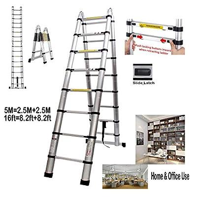 EN131 Telescoping Ladder Aluminum Telescopic Extension Ladders A-fram/Straight Multi Purpose Steps 16.4ft=8.2ft+8.2ft