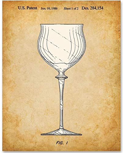 Wine Glass - 11x14 Unframed Patent Print - Great Gift for Wine Lovers, Grottos, Wine Cellars and Home Bar Decor ()