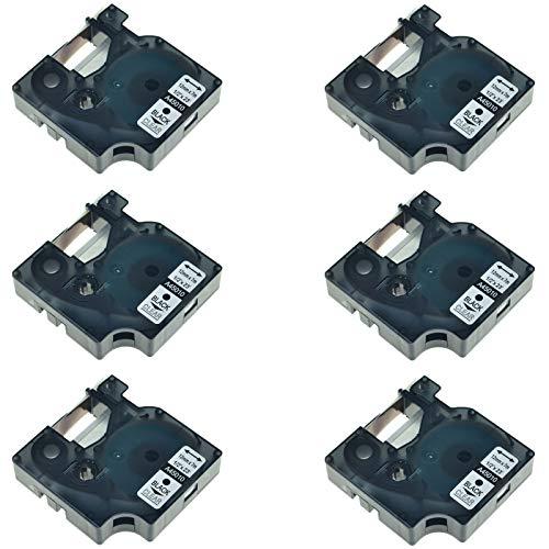 NineLeaf 6 Pack Compatible Label Tape for DYMO D1 45010 S0720500 Black on Clear 1/2 Inch x 23 Ft Label Tape for DYMO LabelManager 160 210D 210D Kit 260P 280 360D 420P 450D Wireless PnP 500TS 450 (Maker Kit Label 210d)