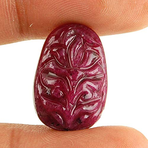- 18.75 Cts ~Certified Rare Unheated Natural Ruby ~ Exquisite Moghul Carving Work