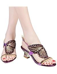 YooPrettyz Asymmetrical Bride Sandal Rhinestone Embellished Wedding Sandals Low Heels
