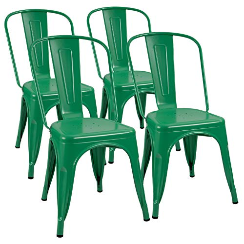 Furmax Metal Chairs Indoor/Outdoor Use Stackable Chic Dining Bistro Cafe Side Chairs Set of 4 (Green)