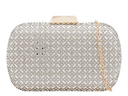 Evening Diamante Bag Box Women's Cocktail Purse KH2217 Silver Party Handbag Ladies Clutch Bag 1xFqFAg
