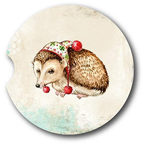 Holiday Hedgehog Sandstone Car Coasters - Set of 2