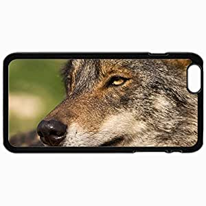 Personalized Protective Hardshell Back Hardcover For iPhone 6 Plus, Iberian Wolf Portrait Design In Black Case Color