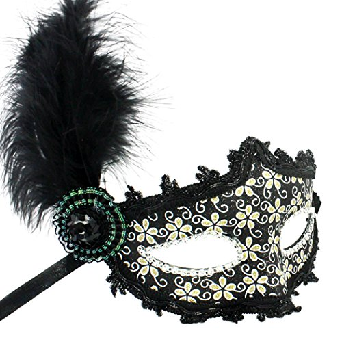 Hand-Painted Venetian Mask Princess Feather Masquerade mask Costume(Yellow)