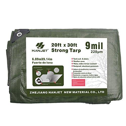 (Hanjet Tarp Heavy Duty Thick 20' x 30' 9-mil Rip-Stop Outdoor Tarps Shelters Green)