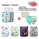 Babygoal Baby Reuseable Washable Pocket Cloth Diaper 6pcs+ 6 Inserts 6fb19