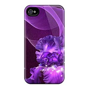 Iphone 4/4s Case Cover - Slim Fit Tpu Protector Shock Absorbent Case (purple Iris Beauty)