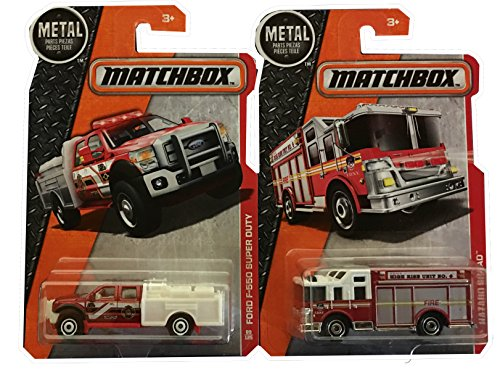 Matchbox Metal Heroic Rescue Hazard Squad & Ford F-550 Super Duty Fire Engine Truck 2-Car Bundle