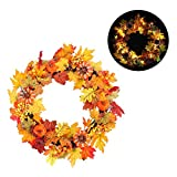 Window-pick Fall Front Door Wreath with Lights Christmas Decoration Pendant Lush Seasonal Foliage and Berries, Approved for Covered Outdoor