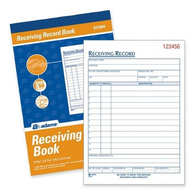 Record Adams Book Receiving - Receiving Record Book, Carbonless, 2-Part, 5-9/16