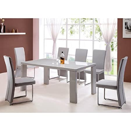 Beau Giovanni High Gloss Grey Dining Table + 6 Light Grey Chairs
