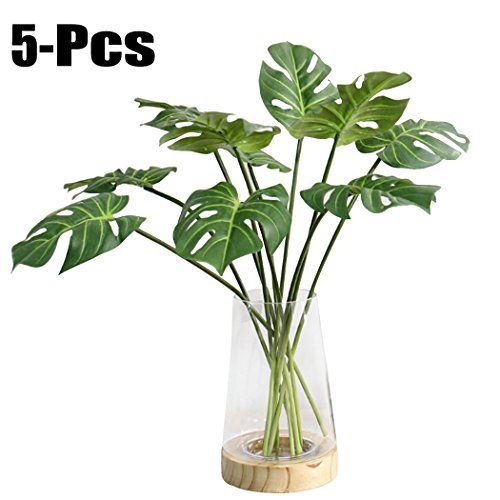 JUSTDOLIFE 5 Branches Green Fake Plant Simulation Tropical Palm Plants Home Decoration Artificial Plant]()