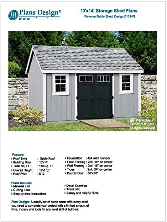 Utility Garden Shed Plans 10 X 14 Reverse Gable Roof Style Material List Included Design D1014g Amazon Com
