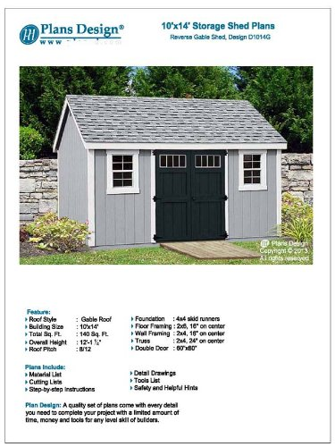 Utility Garden Shed Plans 10 X 14 Reverse Gable Roof Style Material List Included Design D1014g